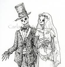 skeleton wedding pen and ink drawing halloween wedding