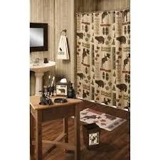 shower curtain moose bear cabin primitive bathroom decor wildlife