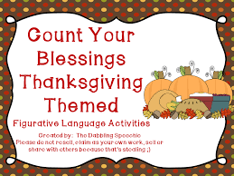 count your blessings thanksgiving themed idioms pack