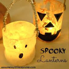 Recycled Halloween Crafts - plastic bottle halloween lanterns messy little monster