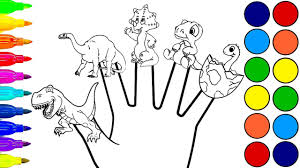 dinosaur finger family coloring book for kids learn colors