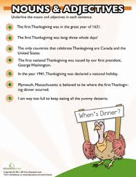 thanksgiving nouns and adjectives thanksgiving worksheets and