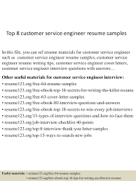 Free Resume Samples For Customer Service by Top 8 Customer Service Engineer Resume Samples 1 638 Jpg Cb U003d1432129094