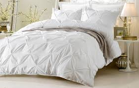 Oversized Duvets Oversized For Pillow Top 4pc Pinch Pleat Design White Bedding Set