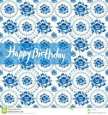 happy birthday card vintage shabby chic pattern with blue flowe