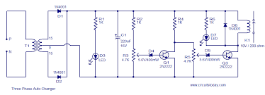 three phase auto changer circuit electronic circuits and diagram