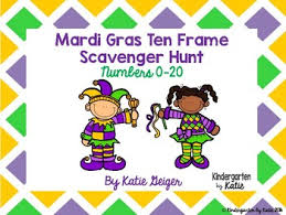 mardi gras picture frame mardi gras ten frame scavenger hunt by kindergarten by tpt