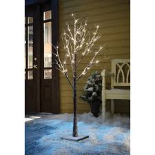 apothecary company decorative 4ft led snow tree with burlap sack