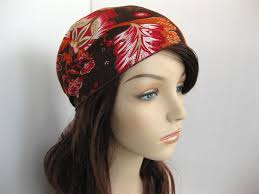 boho hair wraps hair scarf kerchief brown orange floral print wrap