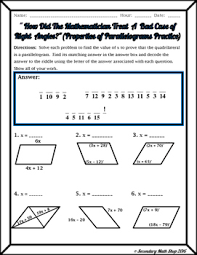 properties of parallelograms worksheet quadrilaterals properties of parallelograms riddle worksheet tpt