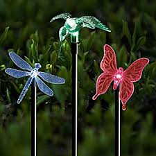 solar stake lights outdoor garden voona 3 pack color chaning led