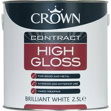 crown contract high gloss paint brilliant white 2 5l toolstation