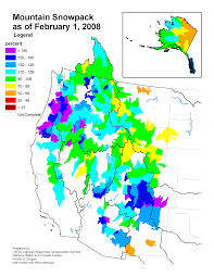 Oregon Climate Map by Mountain Snowpack Map Western Us