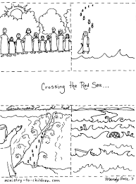 moses and the exodus coloring pages in parting of the red sea page