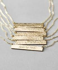 necklace with name engraved engraved bar necklace customized hammered name bar necklace