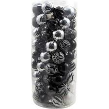 walmart shatterproof ornaments black white and silver