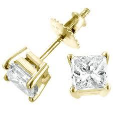 gold diamond earrings yellow gold princess diamond stud earrings 1 75ct