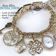 charm bracelet watches images Anne klein 8096chrm mother of pearl swarovski charm bracelet watch jpg