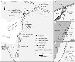 Blank Map Of Eastern Mediterranean by Formation Of Fault Related Calcite Precipitates And Their