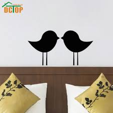 online get cheap sticker headboard aliexpress com alibaba group dctop two birds kissing wall sticker headboard decorative vinyl removable art murals romantic bedroom decor
