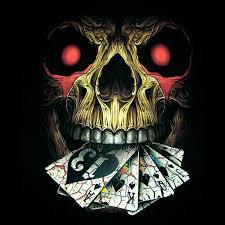 jester skull with cards skulls