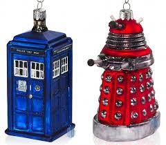 doctor who tardis and dalek ornaments pic global