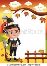 vectors illustration of thanksgiving day vertical frame pilgrim