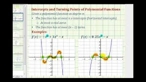 Graphing Polynomial Functions Worksheet Turning Points And X Intercepts Of A Polynomial Function Youtube