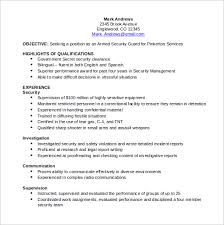 security guard resume sle security resume 11 free documents in pdf word