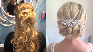 Easy Wedding Hairstyles For Short Hair by Curly Hair Half Up And Half Down Easy Wedding Half Updo
