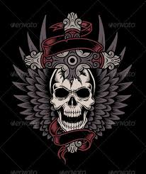 winged skull with cross by vectorfreak graphicriver