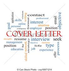 cover letter word cloud concept with great terms such as