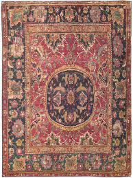 Antique Area Rug Small Silk Wool 17th Century Esfahan Rug 8034 Nazmiyal Rugs