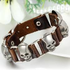 clasp cuff bracelet images Boniskiss rock punk large skull bracelet leather clasp cuff bangle sil jpg