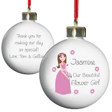 flower girl christmas ornament personalised fabulous flower girl bauble together with flower girl