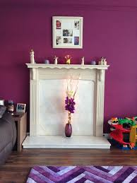 living room purple makeover homebase jazzberry on wall and