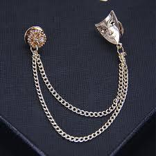 unique charm fashion high quality unique charm brooches rhinestones gold mask