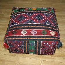 Ottoman Pillow Ottoman Pouf Turkish Kilim Rug Floor Pillow Throw Big Kelim Puff Throw