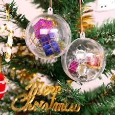 20x clear plastic baubles sphere fillable ornament