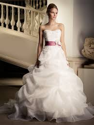 organza wedding dress stunning floor length organza wedding dress with pink belt swwd010