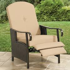 Patio Recliner Lounge Chair Resin Wicker Outdoor Recliner With Cushion Patio Furniture