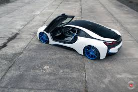 bmw i8 slammed vossen wheels give a bmw i8 a new look