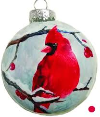 watercolor reflections painted one of a cardinal ornaments