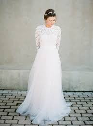modest wedding dress picture of modest wedding dress with a lace top and a tulle skirt