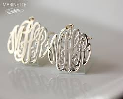 Gold Monogram Earrings Monogram Earrings In 14k Gold Initial Earrings Personalize