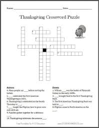 free printable thanksgiving crossword puzzle student handouts