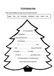 english teaching worksheets christmas tree
