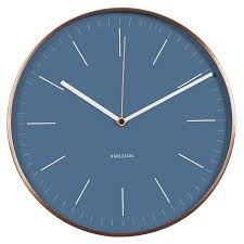 karlsson wall clock blue copper case silent movement kitchen home
