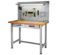 wood top work table steel frame wood top work bench built in light fixture power strip
