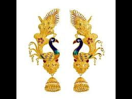 peacock design earrings in gold top 10 south indian gold jhumkas with peacock model